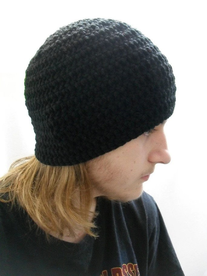 Crochet Mens Beanie Simple Man in Black Medium / Large - AddSomeStitches