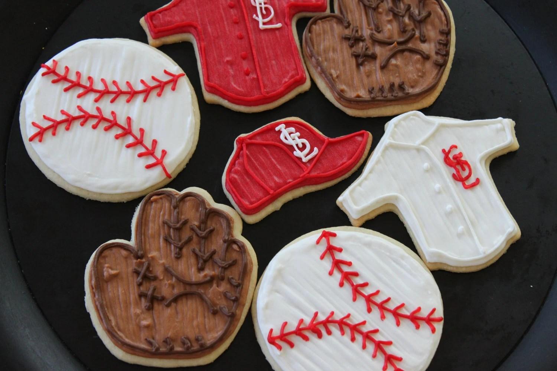 Hand Iced Sugar Cookies St. Louis Cardinal Baseball Assortment (1 dozen)