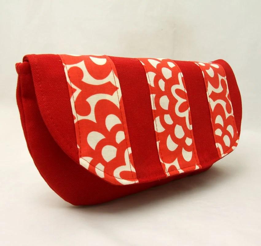 Clutch Handbag in Red Wallflower by Julie Meyer Etsy