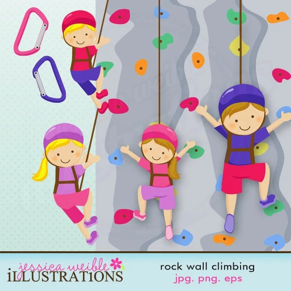 Rock Wall Climbing Cute Digital Clipart for Card Design, Scrapbooking, and Web Design