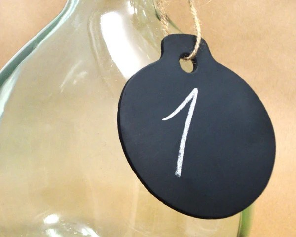 Hanging Chalkboard Sign Tags for Wedding Table Numbers, Set of 3