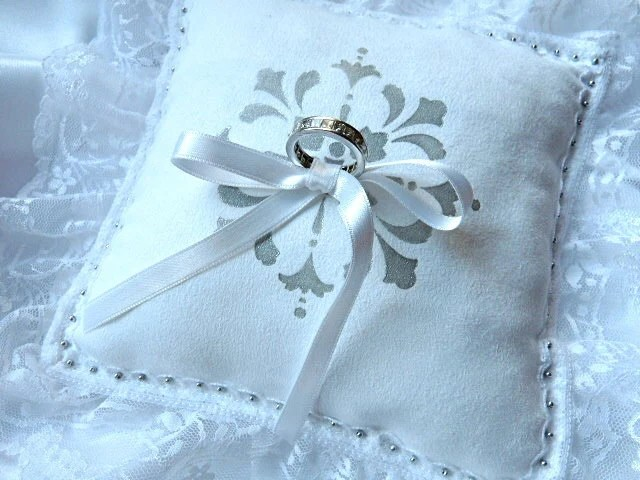 Elegant Bridal Ring Bearer Pillow in White Ultrasuede - MoniKdesigns