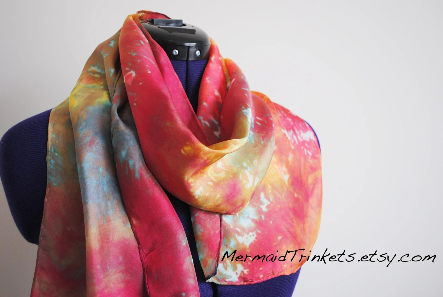Rainbow Silk long scarf - Hand dyed colorful bright red yellow orange blue