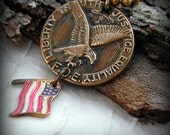 Vintage Eagle Medallion FOE with American Flag Assemblage  Unisex Necklace
