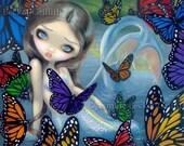 Halcyon Mermaid butterfly big eye lowbrow fantasy art print by Jasmine Becket-Griffith 12x16 BIG