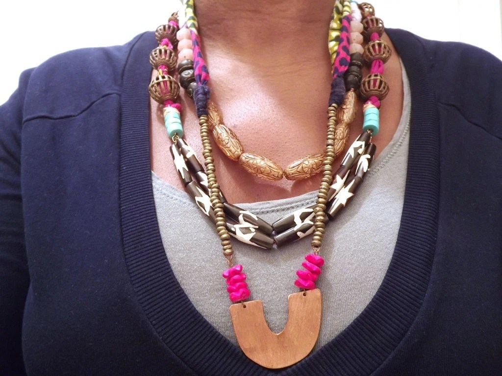 Leopardy Green and Pink Wax Print Statement Necklace with Copper Pendant