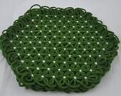 Small Trivet in 4 Layers of  Forest Green Yarn with White Ties - Earthy Grass Colors