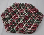 Small Trivet in 4 Layers of Cranberry Green Multicolored Yarn with Cream Ties - Autumn Christmas Colors