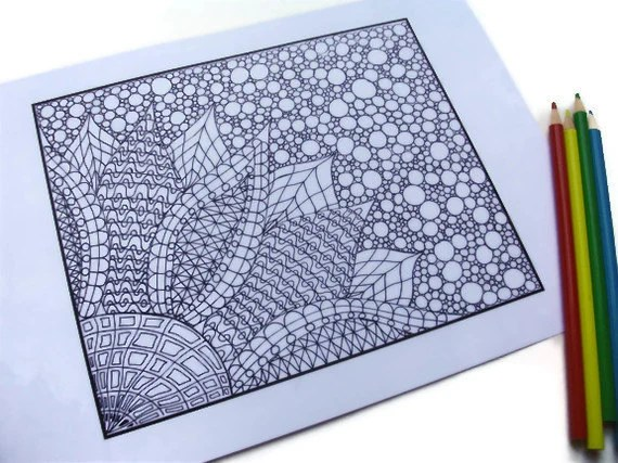 Zentangle Coloring Page, Printable- Page 2: Flower