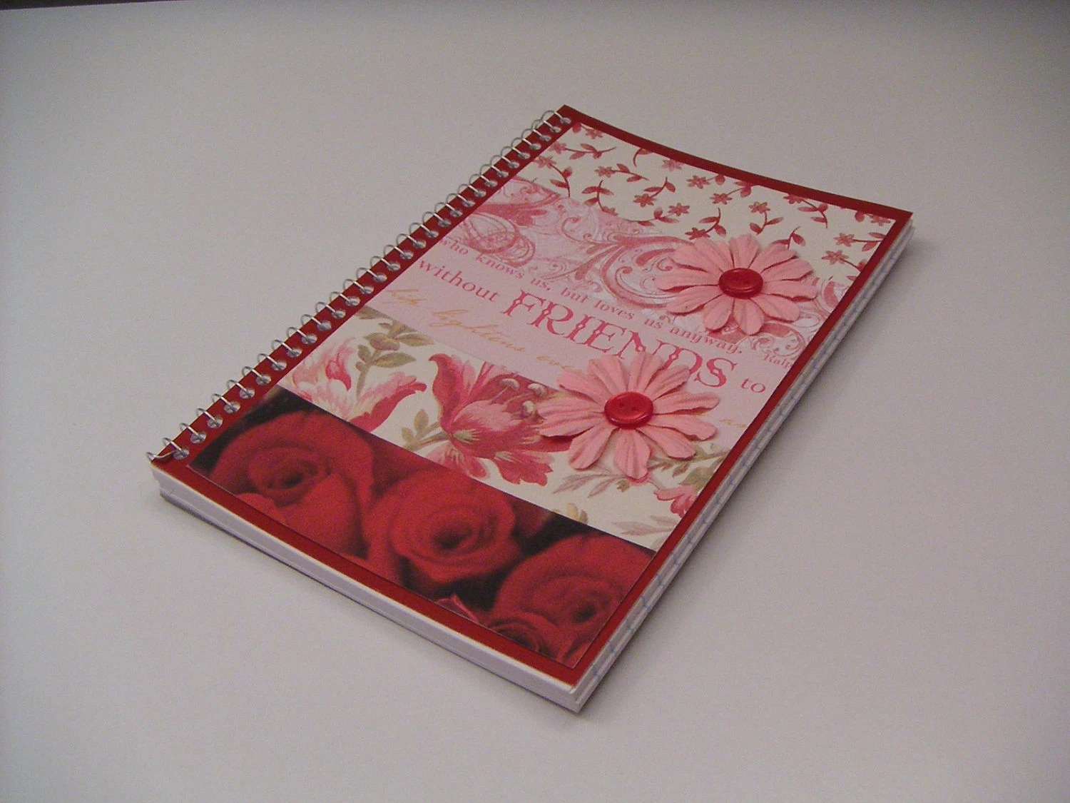 Red and Pink Friends Spiral Notebook with Pink Paper Flowers and Red Buttons - Buttons and Blossoms Journal