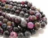 Purple and Green Fired Agate Gemstone Beads
