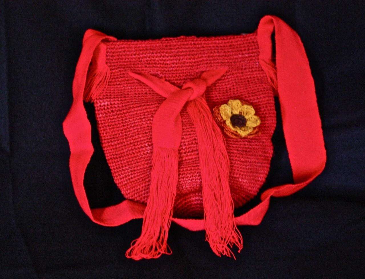 Red Fique Bag with Red Cloth Handle, Lining and Fique Flower