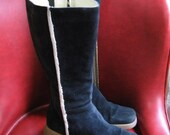 Oh so Modand Cozy Striking leather and  fur lined knee high boots women SIze 8