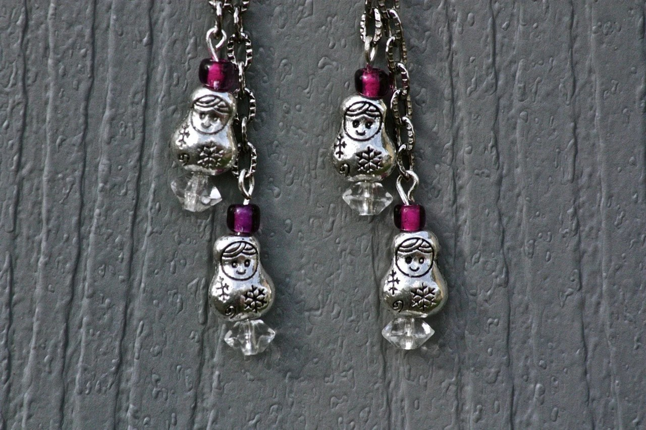 Earrings: Russian Matryoshka Snowflake Doll Dangle Earrings - Sterling Silver Hooks