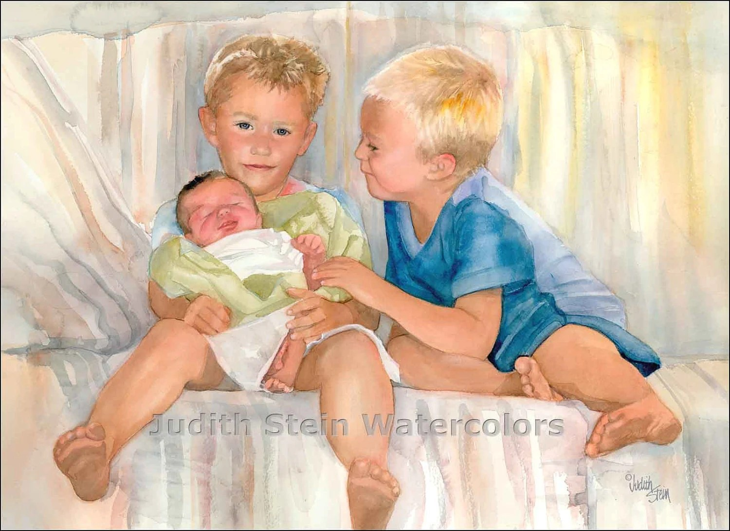 BABY BROTHER HOMECOMING 22 x 15 Giclee Watercolor Print