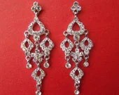 SALE -- Bridal Chandelier Earrings Rhinestone Bride, Bridesmaid (12A88)