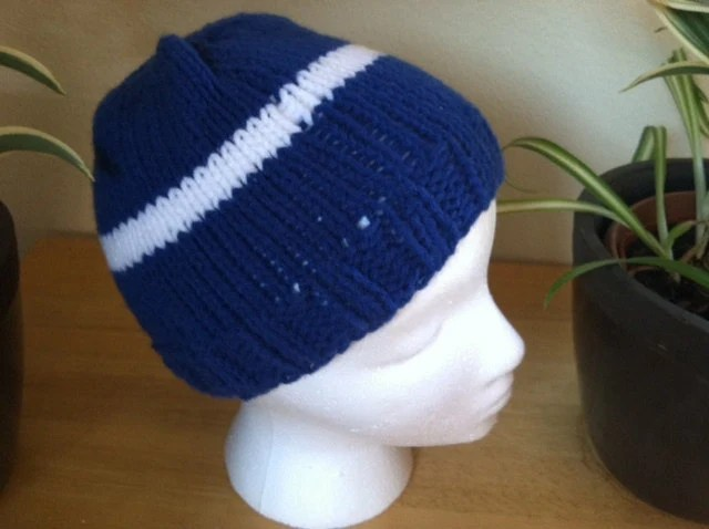 Blue with White Stripe knitted beanie hat