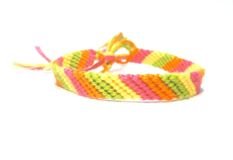Friendship Bracelet: Neon Summer Candy Stripe
