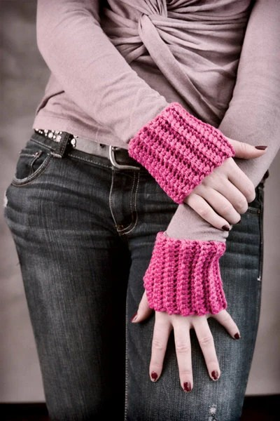 WRIST WARMERS - Bubble Gum Pink Crochet Arm Warmers