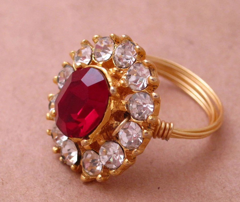 Ruby Red - Upcycled Wire Wrapped Ring - size 7.75