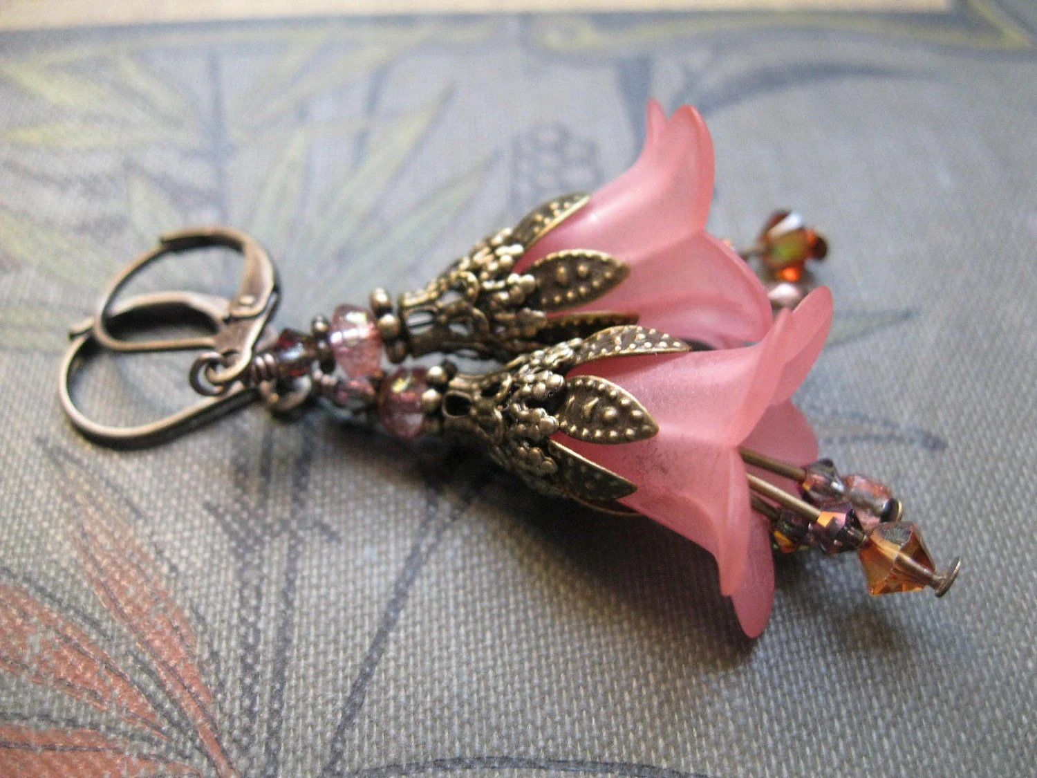 Fairy Wedding. Rose Pink Bridesmaid Earrings with Victorian Brass Filigree. Mother and Daughter SALE