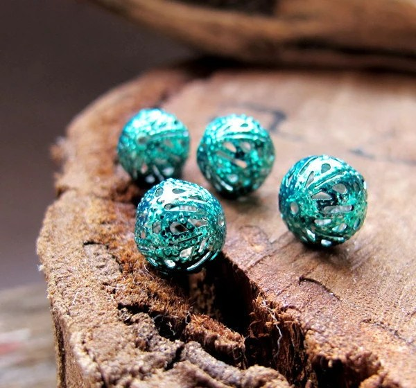 10mm Bauble Beads. Turquoise Enamel Hollow Beads. Filigree Beads 1mm. Hand Painted Beads. Bauble Beads