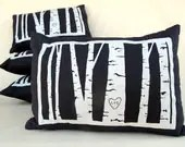 custom birch tree pillow cover -- personalized with your initials - cozyblue