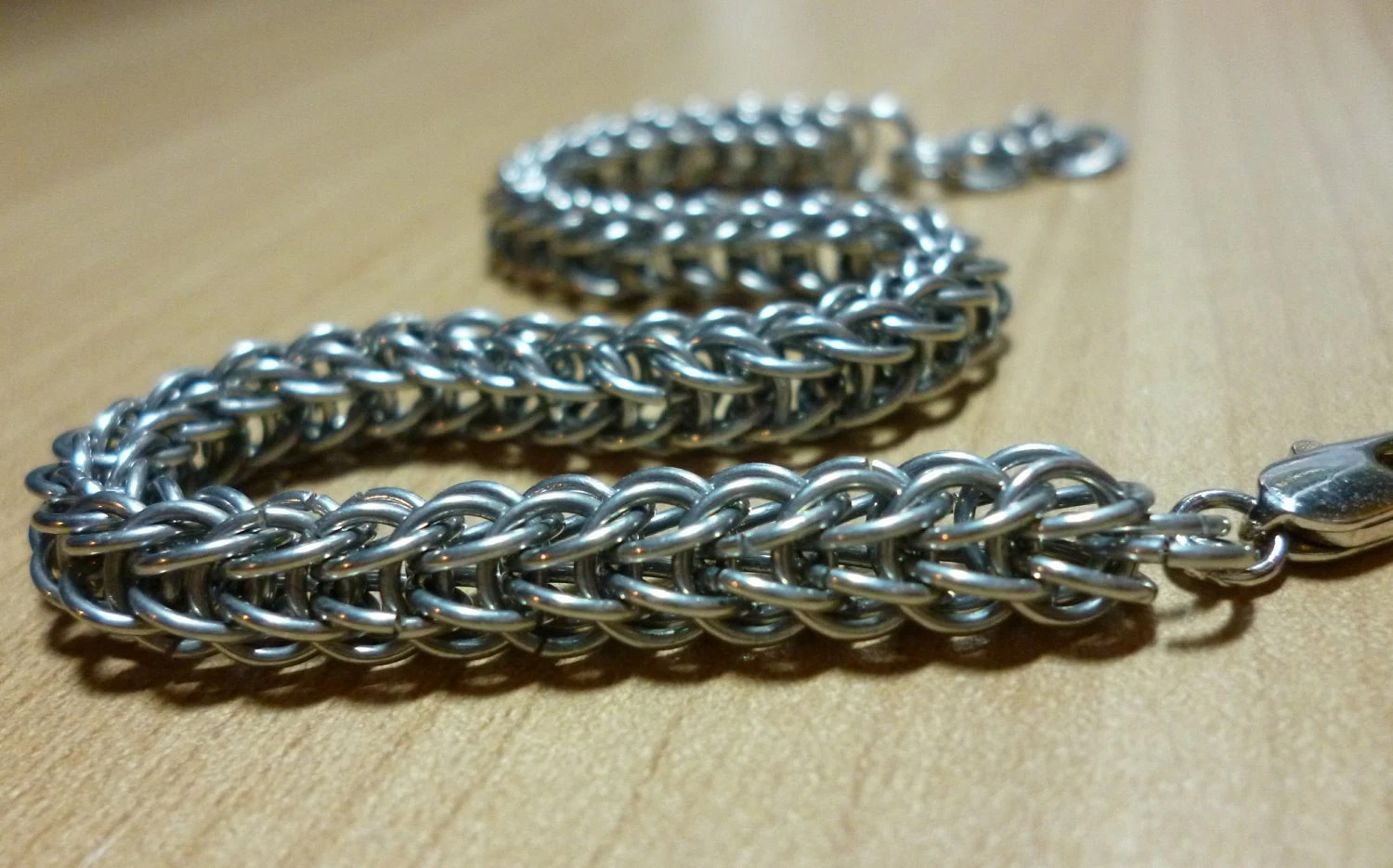 Chainmail Bracelet: Adjustable Silver Persian Chain