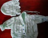 Vintage baby cardigan and hat.  Hand knitted 0-3 months