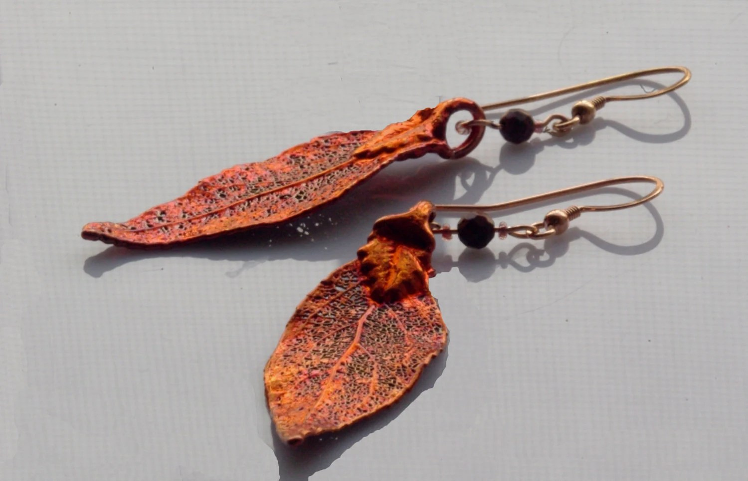 Copper Colored Laurel Leaf Earrings