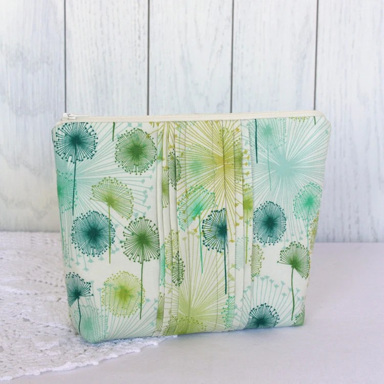 Medium Green Wisps Cotton Zip Pouch with Pintucked Detail OOAK - LePetitHoot