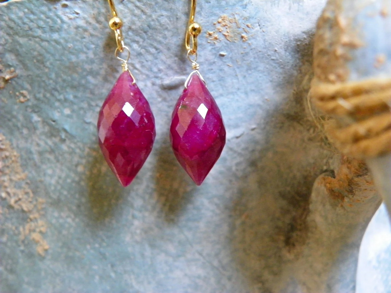 Delicate Ruby Earrings with Gold. Free shipping. Mother's Day Gift Idea.