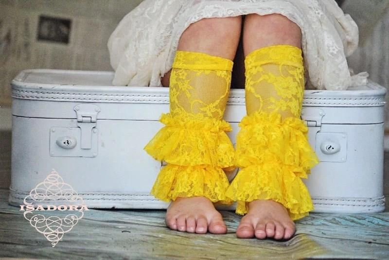 Girls Lace Ruffle Leg Warmers in Lemon Yellow - ISADORAKIDS