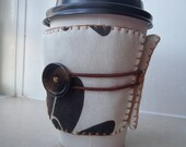 Coffee Sleeve - Coffee Cozy - Reusable - Beige - Black - White - Adjustable