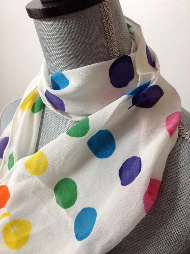 hand dyed silk scarf in candy colored polka dots - squishythings