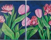 GARDEN PINK - Two Original Paintings in One - ARTbyKONNIE