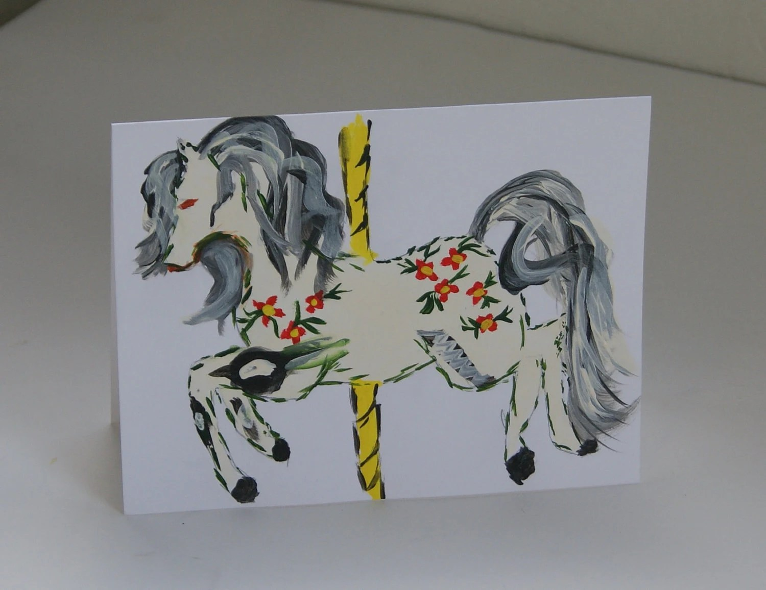 Greeting Card Hand Painted Carousel Horse