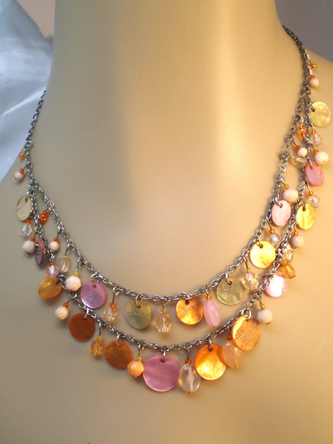Vintage Necklace an Earring Set Mother of Pearl Czech 4in Dangles Pinks Oranges Peaches Glass Beads 2 Strands