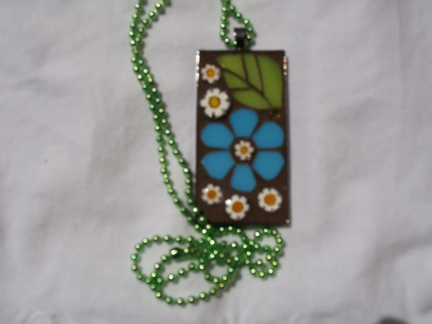 Spring Flower Pendant - Mosaic Sky Blue Flower Power Necklace