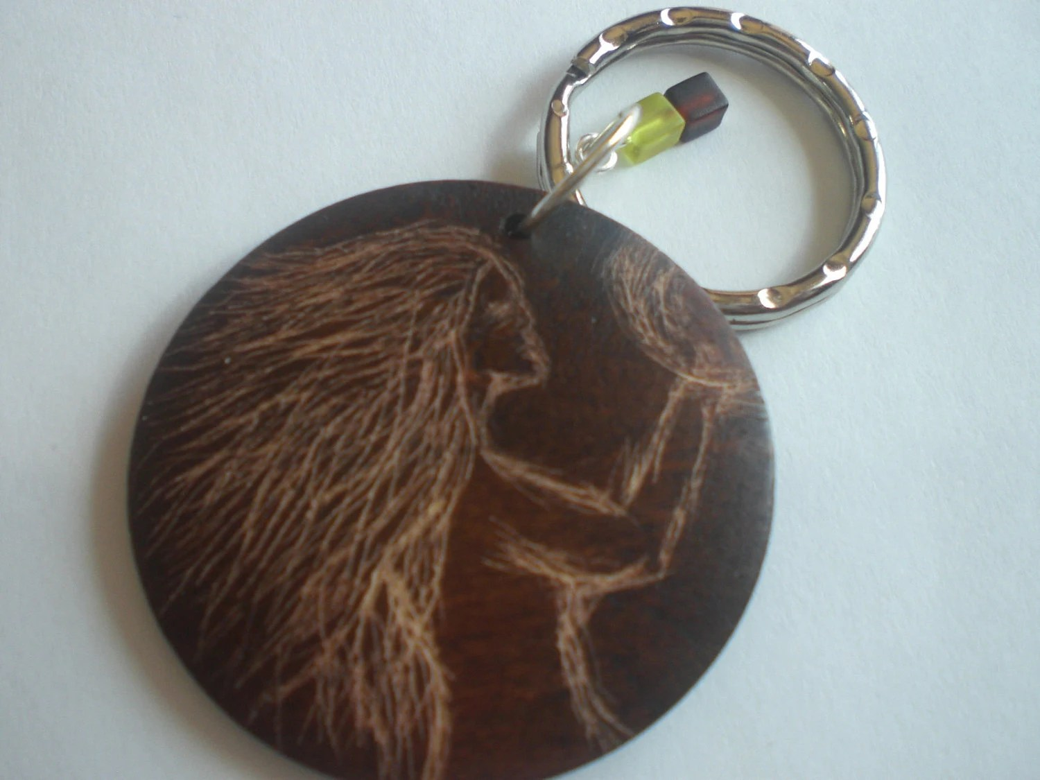 Ooak Carved Wood Mother Earth's Reflection Keychain with Green and Brown Glass Charms