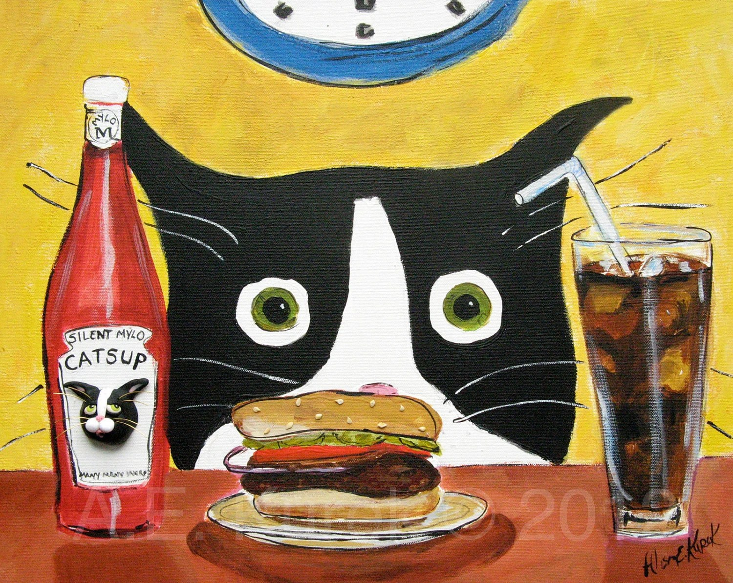 Tuxedo Cat with Hamburger- Blank Note Cards - SilentMyloStudio