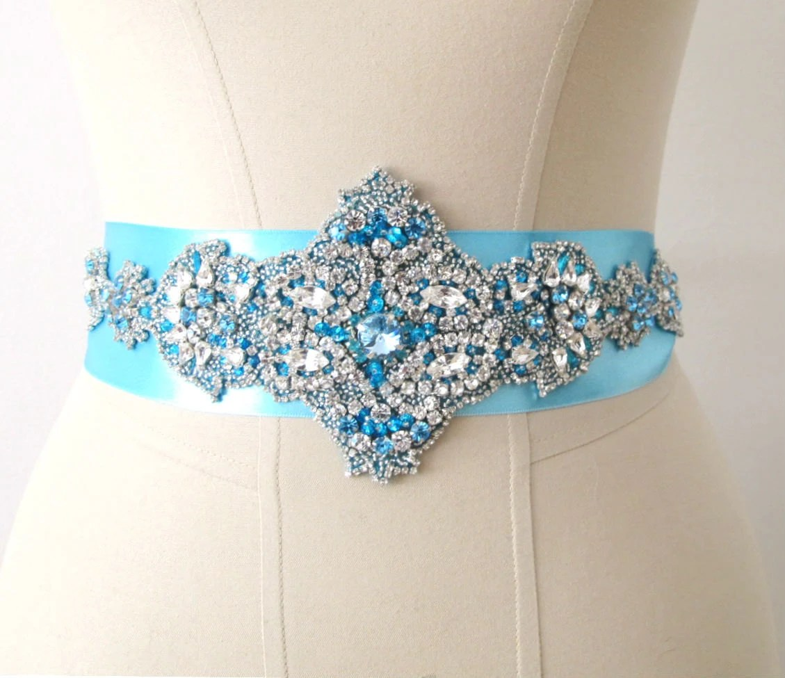 Turquoise Blue  Rhinestone Crystal Beaded Bridal Wedding  Belt - gebridal