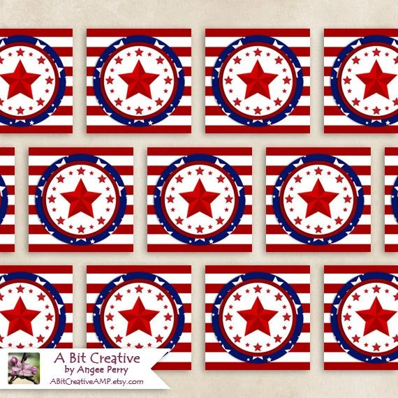 Graphic Design - Patriotic - 4th of July - Independence Day Party - Gift Tags - DIY Printable - ABitCreativeAMP