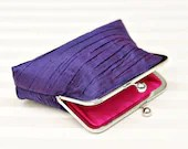"6"" Tucked Purple Silk Clutch - SimplyClutch"
