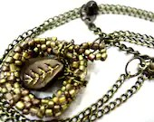 Light Brown Necklace Beaded Pendant with Leaf - MegansBeadedDesigns