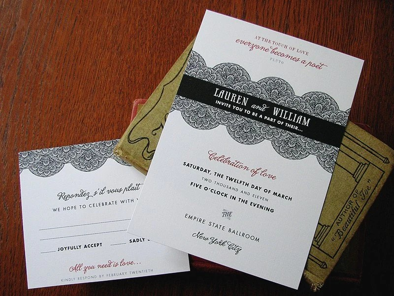 25 Dapper Invitation Ensemble Vintage lace indie wedding invitations