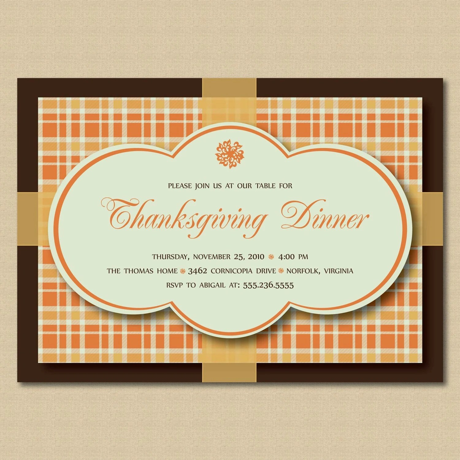 Thanksgiving Dinner or Fall Party Invitations