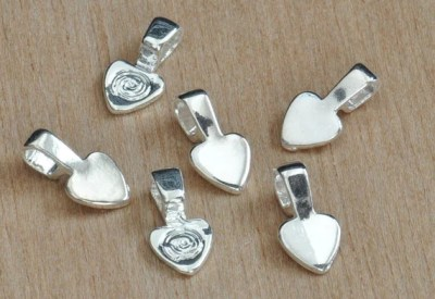 50 Small Shiny Silver Plated  Heart Bails use for your Scrabble Tiles and Glass Pendants