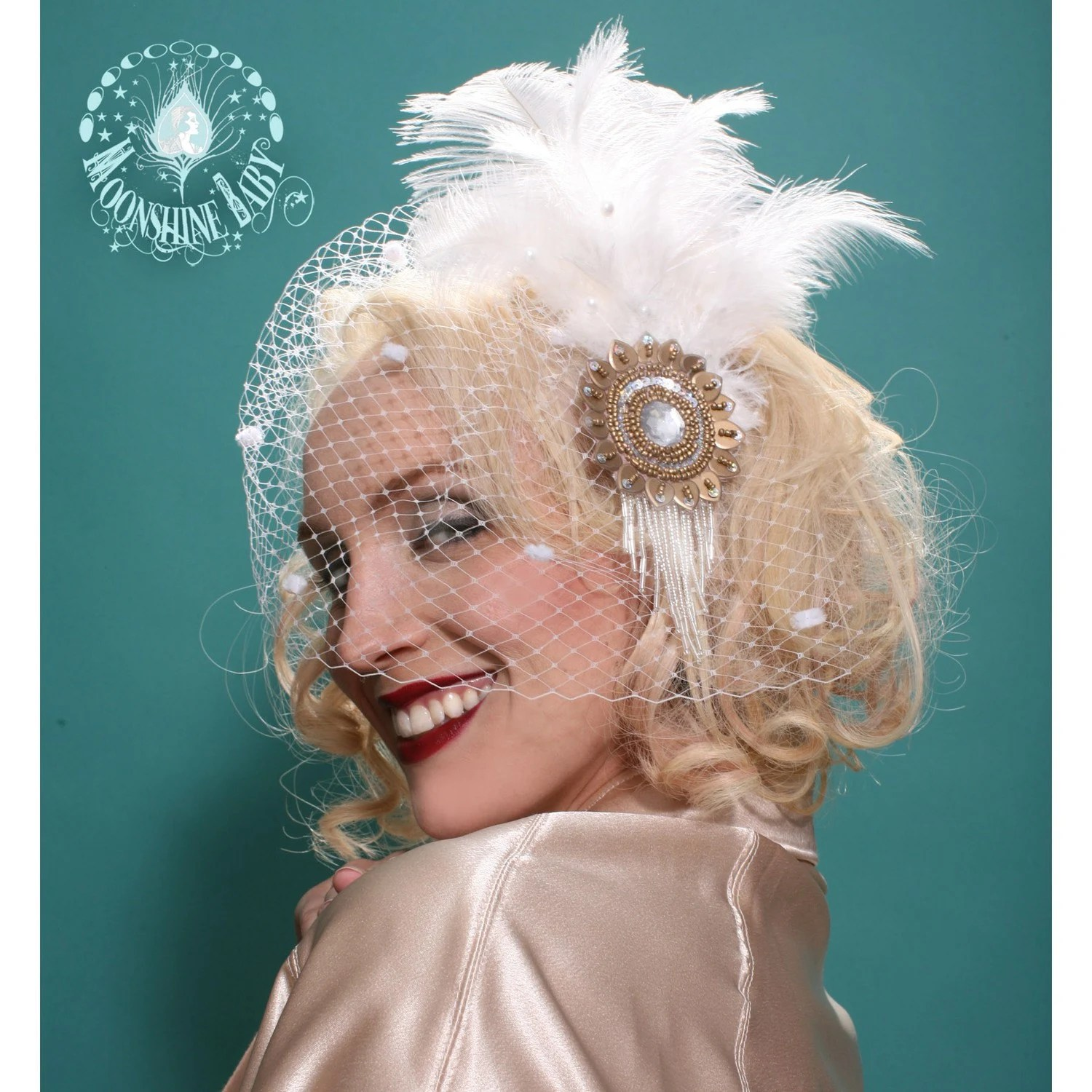 Ivory and Gold Sunburst Flower Fascinator w/ Ostrich Feathers - Art Deco Revival - by Moonshine Baby