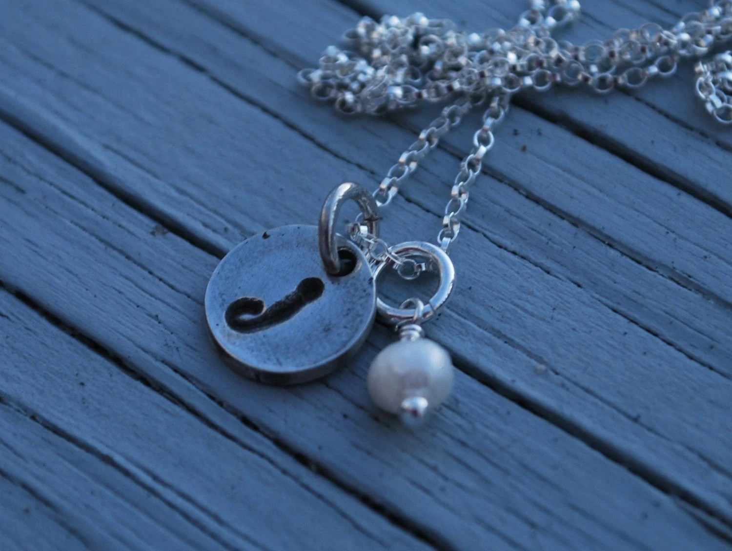 Bitty Initial--Fine Silver Necklace